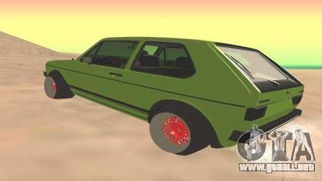 Volkswagen Golf Mk1 Low para GTA San Andreas vista posterior izquierda
