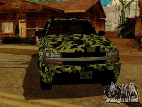 Chevrolet TrailBlazer Army para visión interna GTA San Andreas