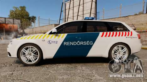 Audi S4 Avant Hungarian Police [ELS] para GTA 4 left