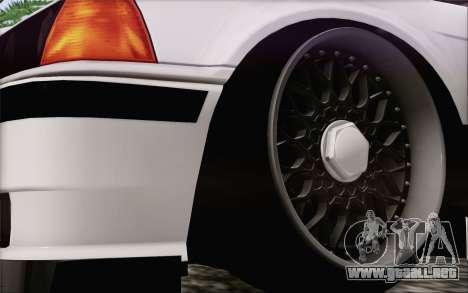 BMW M3 E36 Hellaflush para GTA San Andreas vista posterior izquierda