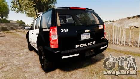 Chevrolet Tahoe 2008 LCPD [ELS] para GTA 4 Vista posterior izquierda