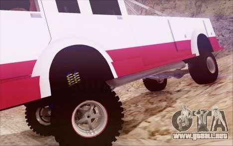Offroad Firetruck para GTA San Andreas vista hacia atrás