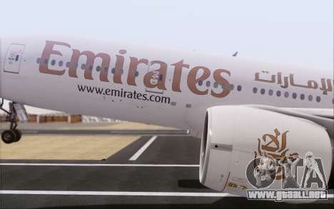 Emirates Airlines 777-200 para la visión correcta GTA San Andreas