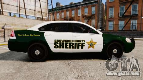 Chevrolet Impala 2010 Broward Sheriff [ELS] para GTA 4 left