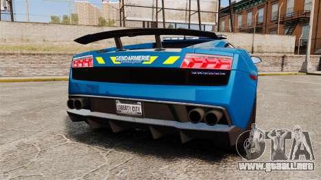Lamborghini Gallardo Gendarmerie National [ELS] para GTA 4 Vista posterior izquierda