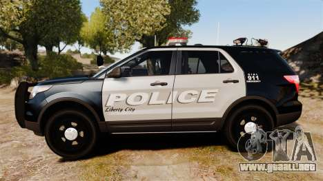 Ford Explorer 2013 LCPD [ELS] Black and Gray para GTA 4 left