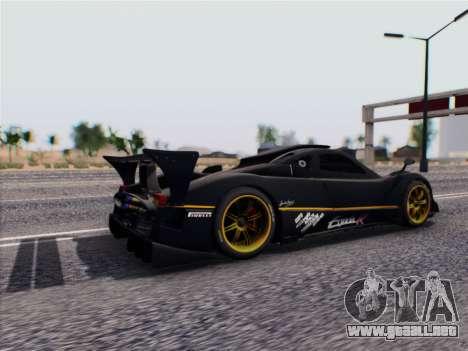 Pagani Zonda R 2009 para GTA San Andreas vista posterior izquierda