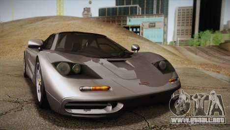 McLaren F1 para GTA San Andreas vista posterior izquierda