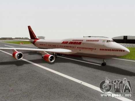 Boeing 747 Air India para GTA San Andreas vista posterior izquierda
