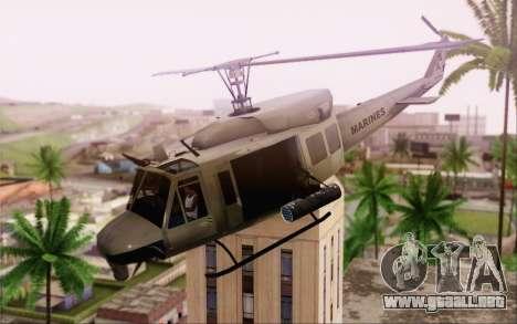 Bell UH-1N Twin Huey para GTA San Andreas vista posterior izquierda