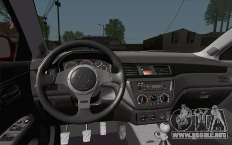 Mitsubishi Lancer MR Edition para GTA San Andreas vista hacia atrás
