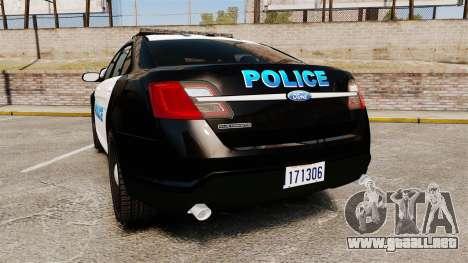 Ford Taurus Police Interceptor 2013 [ELS] para GTA 4 Vista posterior izquierda