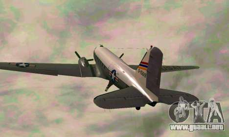 C-47 Dakota de la USAF para GTA San Andreas vista hacia atrás
