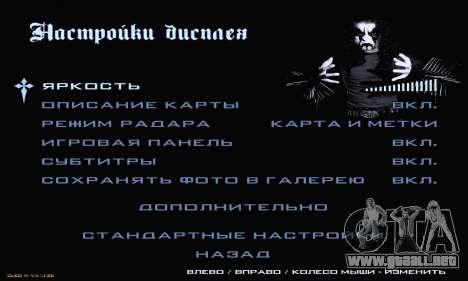 Black Metal Menu para GTA San Andreas séptima pantalla