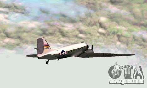 C-47 Dakota de la USAF para GTA San Andreas vista posterior izquierda
