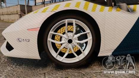 Lamborghini Huracan Hungarian Police [ELS] para GTA 4 vista hacia atrás