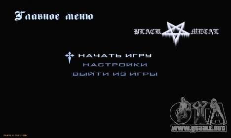 Black Metal Menu para GTA San Andreas segunda pantalla