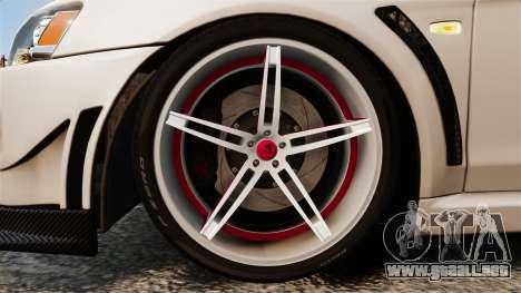 Mitsubishi Lancer Evolution X FQ400 (Cor Rims) para GTA 4 vista hacia atrás