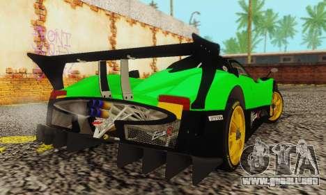 Pagani Zonda Type R Green para GTA San Andreas vista posterior izquierda