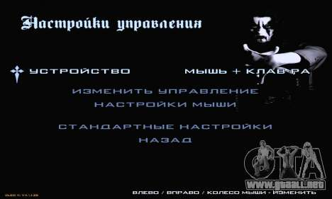 Black Metal Menu para GTA San Andreas quinta pantalla