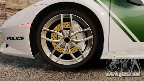 Lamborghini Huracan Cop [ELS] para GTA 4 vista hacia atrás