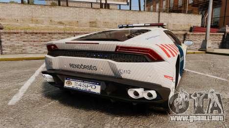 Lamborghini Huracan Hungarian Police [ELS] para GTA 4 Vista posterior izquierda