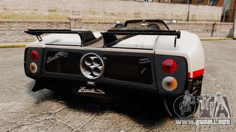 Pagani Zonda C12 S Roadster 2001 PJ4 para GTA 4 Vista posterior izquierda