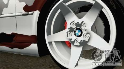 BMW M3 E46 Camo para GTA San Andreas vista posterior izquierda