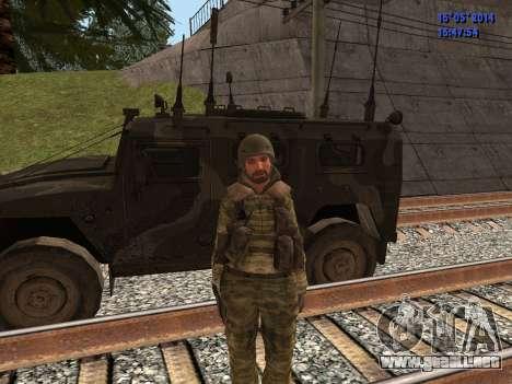 Militar en camuflaje para GTA San Andreas sucesivamente de pantalla