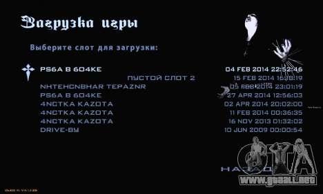 Black Metal Menu para GTA San Andreas sucesivamente de pantalla