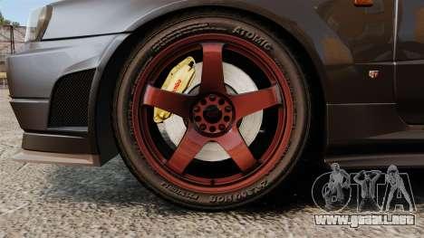 Nissan Skyline GT-R NISMO S-tune Amuse Carbon R para GTA 4 vista hacia atrás