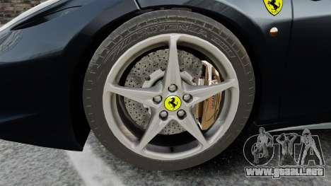 Ferrari 458 Italia para GTA 4 vista hacia atrás