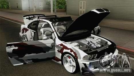 BMW M3 E46 Camo para GTA San Andreas vista hacia atrás