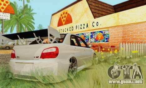 Subaru Impreza WRX Stock para GTA San Andreas vista posterior izquierda