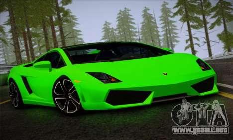 Lamborghini Gallardo LP560-4 para GTA San Andreas vista posterior izquierda