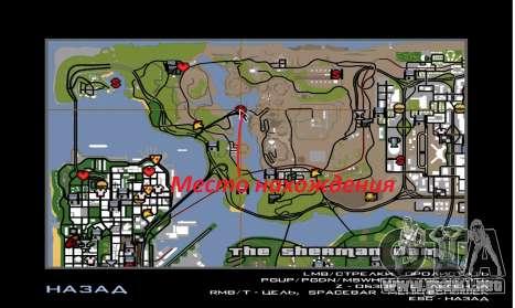 Nueva represa Sherman para GTA San Andreas sucesivamente de pantalla