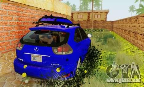 Lexus RX400h 2010 para GTA San Andreas vista hacia atrás