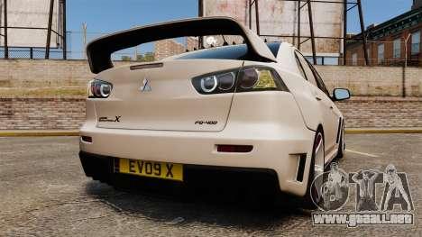 Mitsubishi Lancer Evolution X FQ400 (Cor Rims) para GTA 4 Vista posterior izquierda