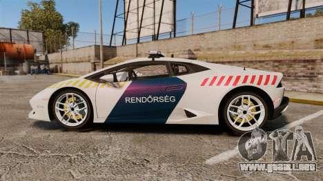 Lamborghini Huracan Hungarian Police [ELS] para GTA 4 left