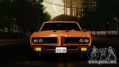 Pontiac GTO The Judge Hardtop Coupe 1969 para GTA San Andreas vista hacia atrás