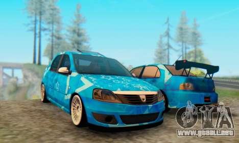 Dacia Logan Blue Star para GTA San Andreas left