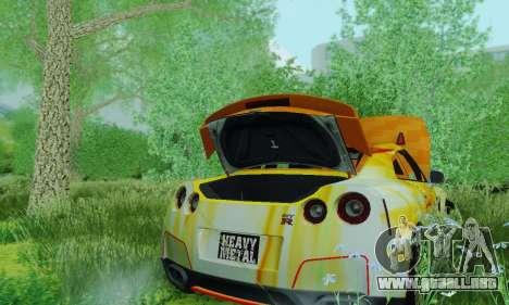 Nissan GTR Heavy Fire para GTA San Andreas vista hacia atrás