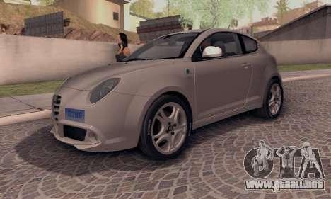 Afla Romeo Mito Quadrifoglio Verde para GTA San Andreas vista posterior izquierda