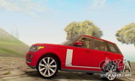 Range Rover Vogue 2014 V1.0 UK Plate para la visión correcta GTA San Andreas