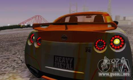 Nissan GTR Heavy Fire para vista inferior GTA San Andreas
