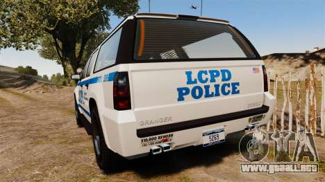 GTA V Declasse Granger LCPD para GTA 4 Vista posterior izquierda