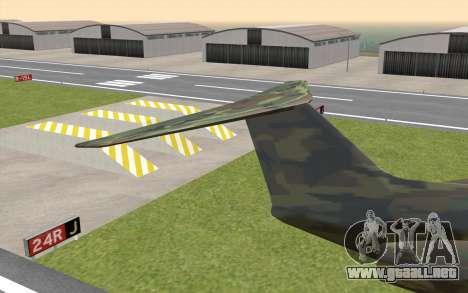 Camouflage Shamal para GTA San Andreas vista posterior izquierda