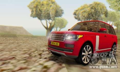 Range Rover Vogue 2014 V1.0 UK Plate para GTA San Andreas vista posterior izquierda