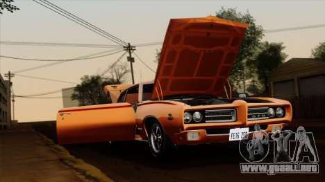 Pontiac GTO The Judge Hardtop Coupe 1969 para GTA San Andreas vista posterior izquierda