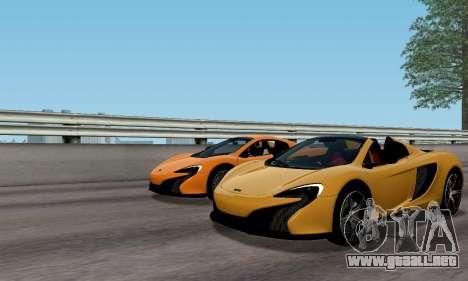 McLaren 650S Spyder 2014 para GTA San Andreas vista hacia atrás